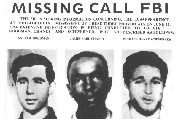 An image of a poster of three men that reads Missing call FBI
