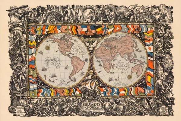 Image of a world map for the course Global, World, and Transnational History