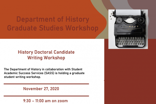 Poster for History Doctoral Candidate Workshop