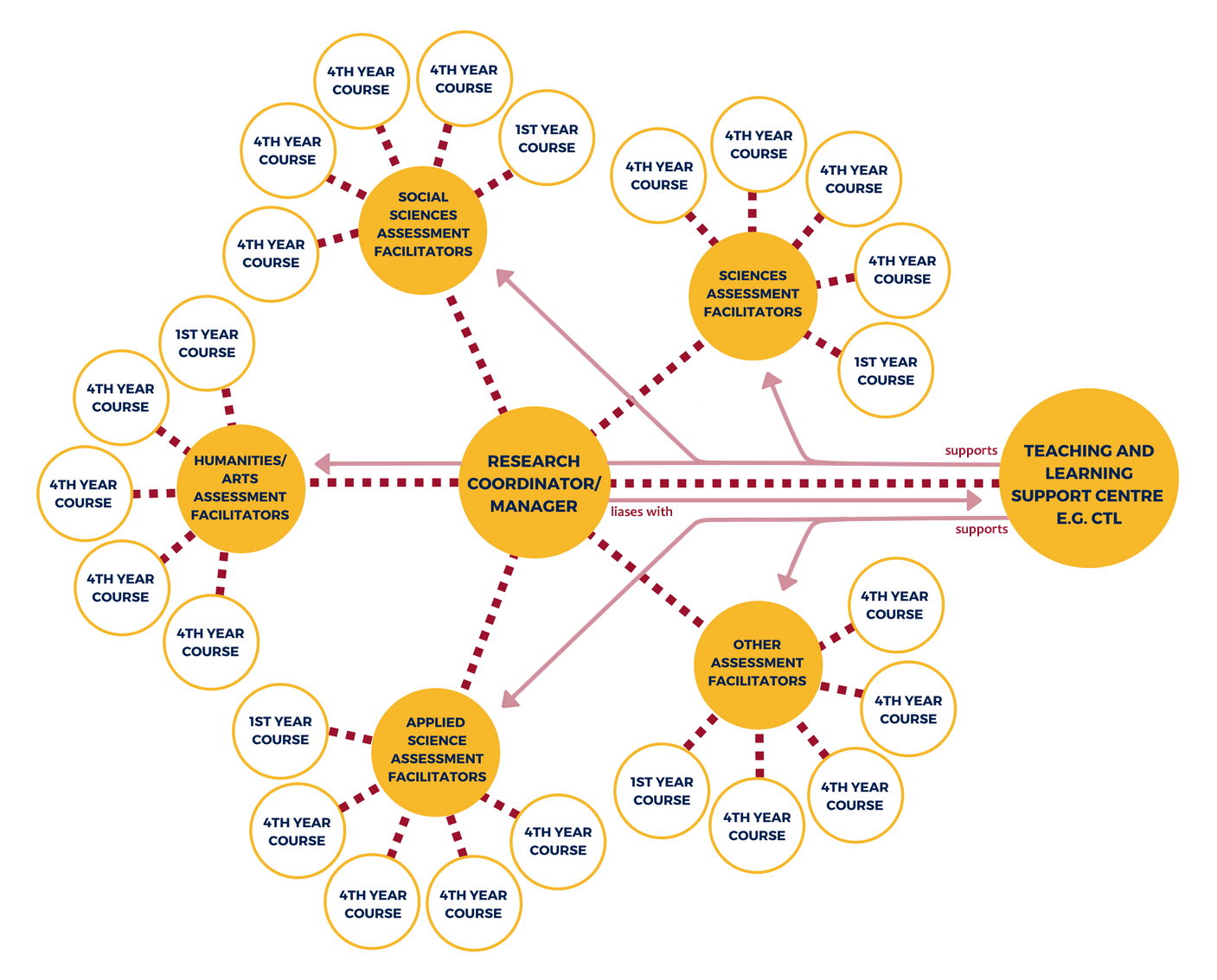 Graphic displaying the network. The research coordinator communicates with assessment facilitators. These facilitators communicate with course instructors from 1st and 4th year courses in their subject area. The project is supported by the Centre for Teaching and Learning.