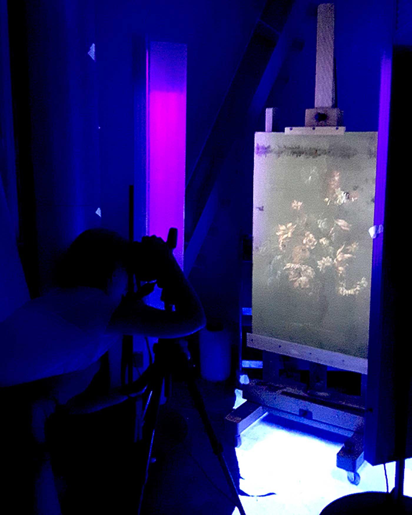 Still-life painting alight with UV-radiation