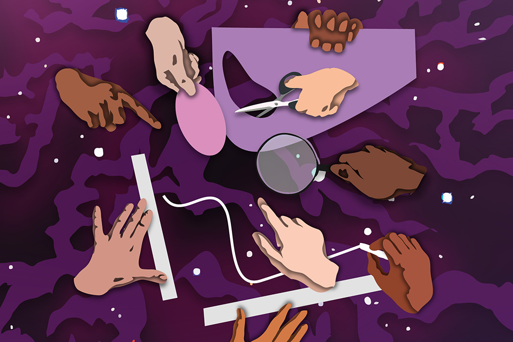[illustration - hands and and instruments for measuring]