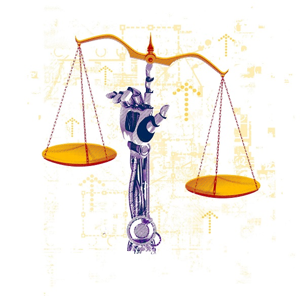 [Illustration by Gary Neill of the scales of justice]