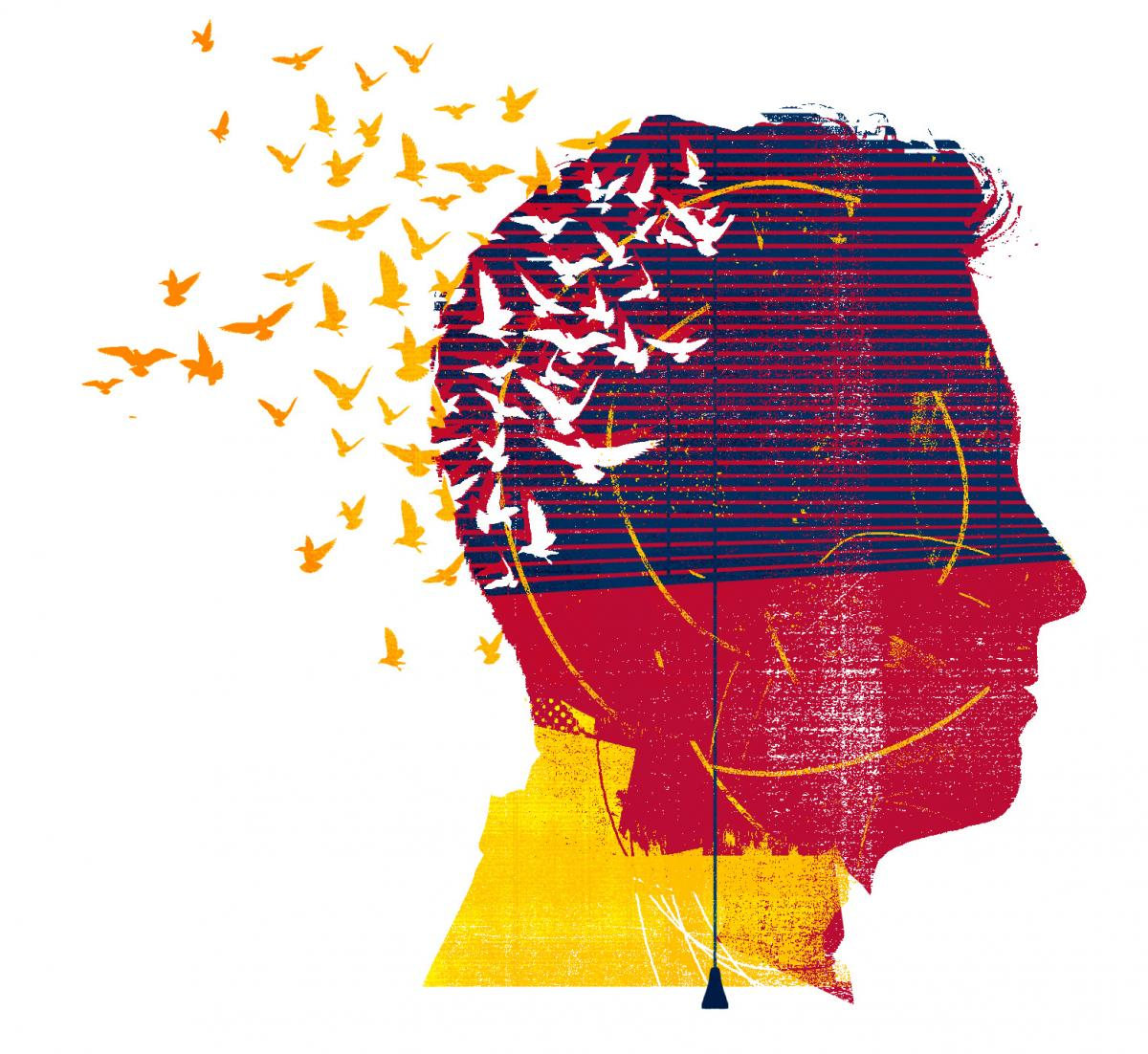 [concept illustration of head with birds]