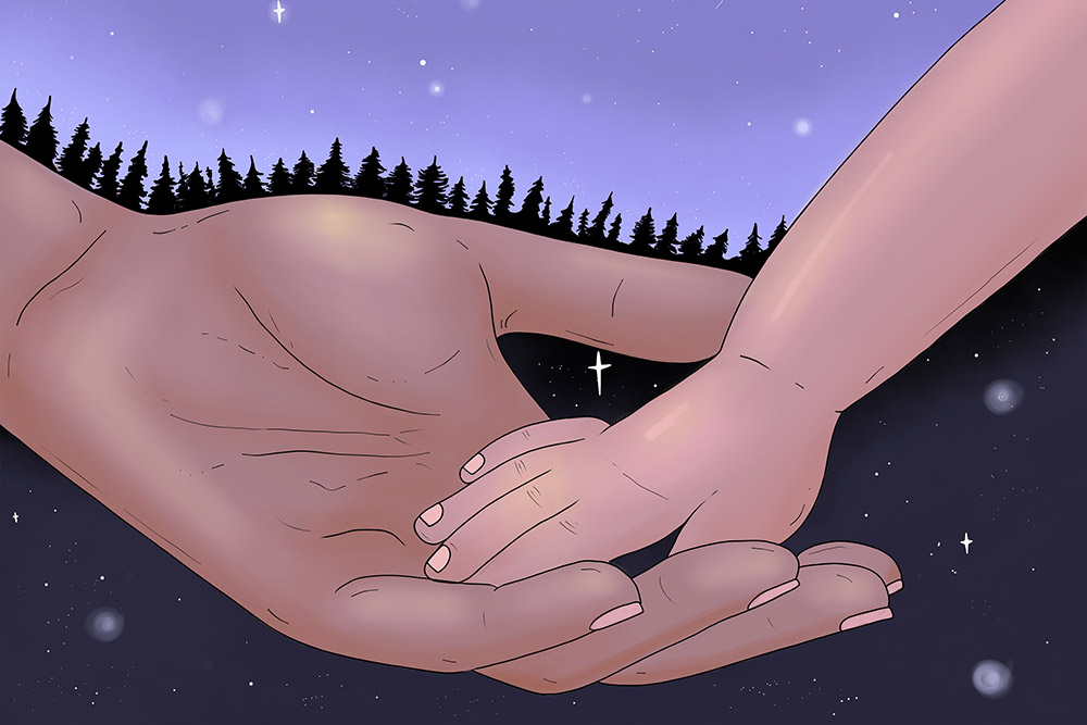[illustration - young hand in old hand]