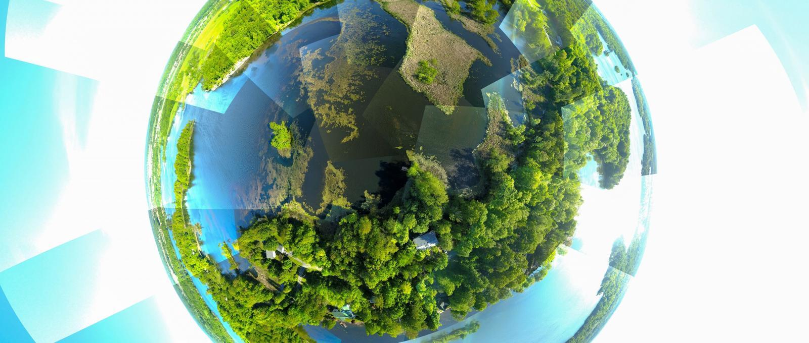 [Photograph using a fish eye lens of Milburn Bay, Dog Lake]