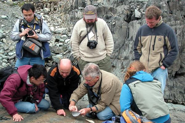 [Researchers examining fossils on Mistaken Point]
