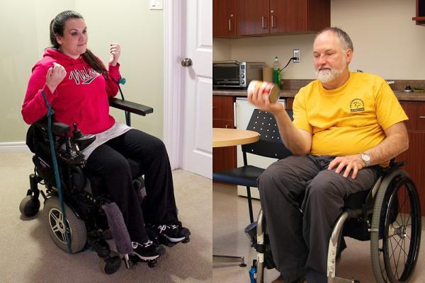 [Two people in wheelchairs performing different exercises]