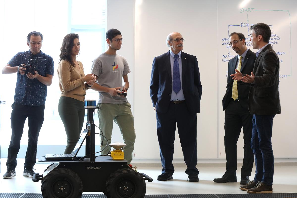 Students demonstrated various robotics projects for Dr. Chalfie during his tour of the new Ingenuity Labs space in Mitchell Hall