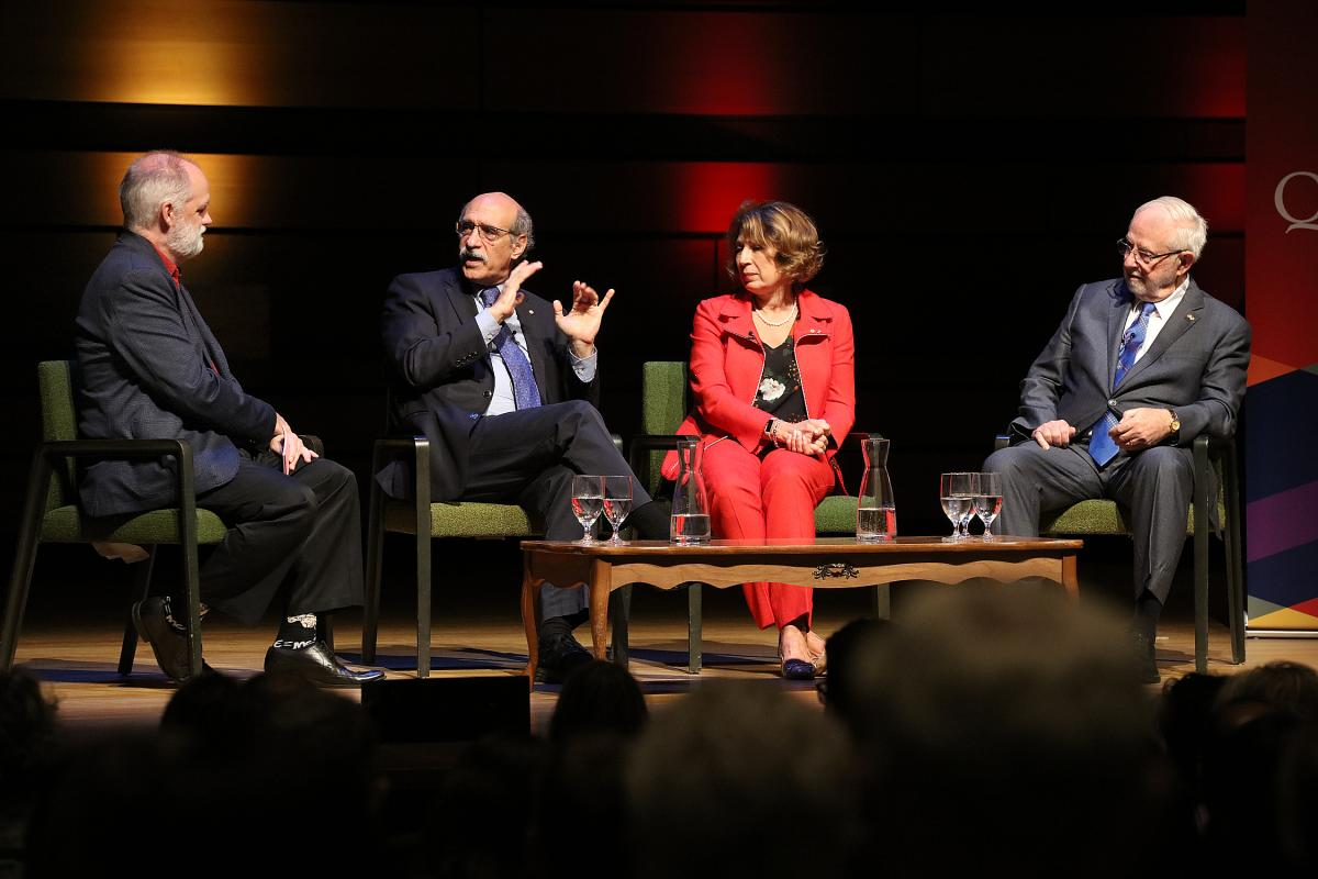 Following the one-on-one chat, André Picard and  Martin Chalfie were joined on stage by Canada's Chief Science Advisor Mona Nemer, and Queen's University's own Nobel Laureate, Arthur B. McDonald