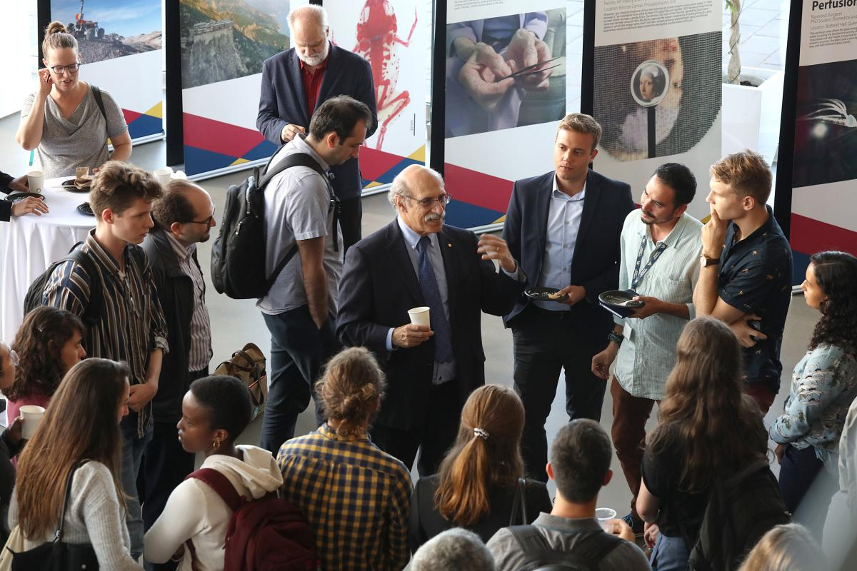 Dr. Martin Chalfie met with groups of excited audience members following the public discussion