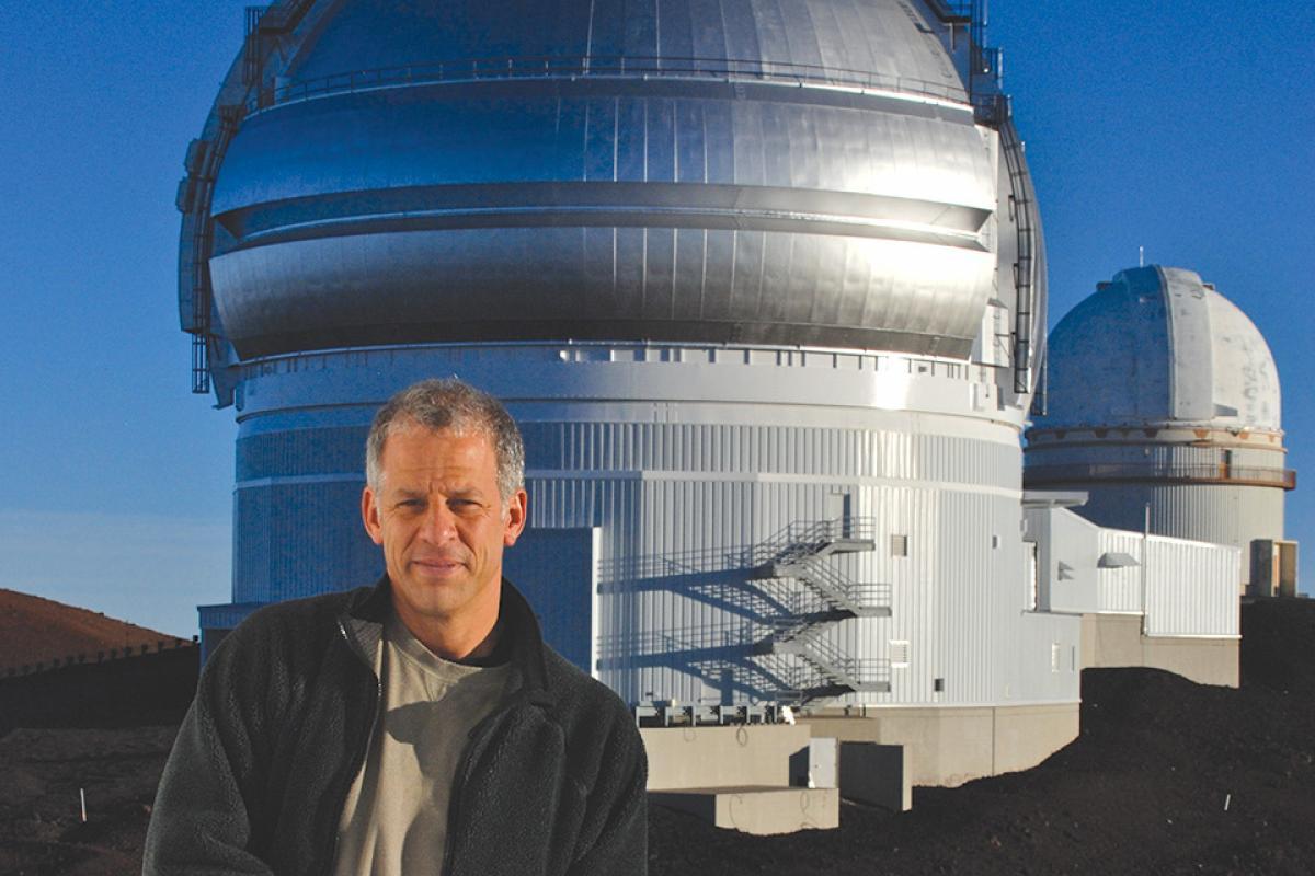 [Courteau overlooking the Gemini-North telescope]