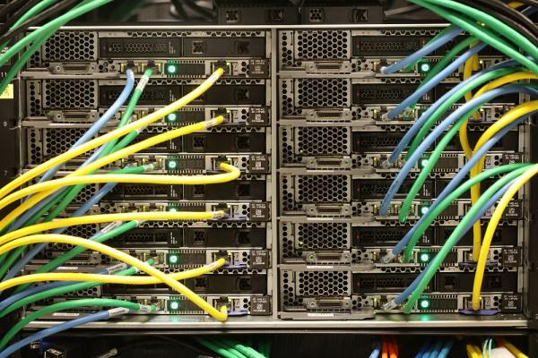 [Photograph of a server at the Centre for Advanced Computing - Photo by Bernard Clark]