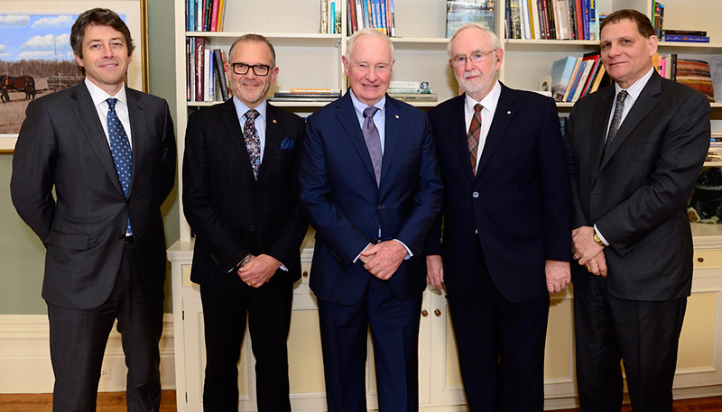 [l-r: Michael Fraser, Vice-Principal (University Relations); Steven Liss, Vice-Principal (Research); Governor General David Johnston; Dr. Arthur McDonald and Principal Daniel Woolf]