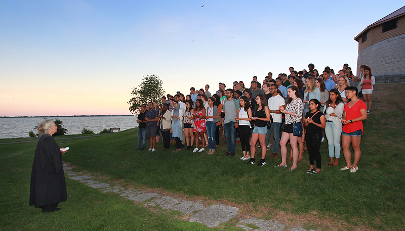Med students taking Hippocratic Oath by Lake Ontario