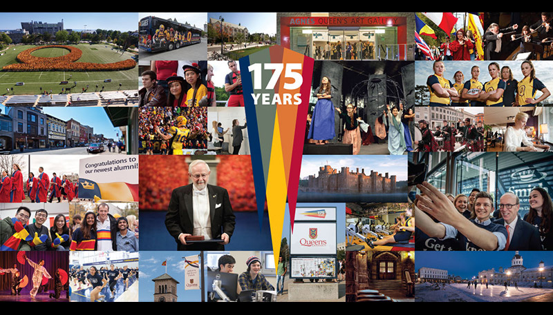 [Queen's 175 years - collage of moments]