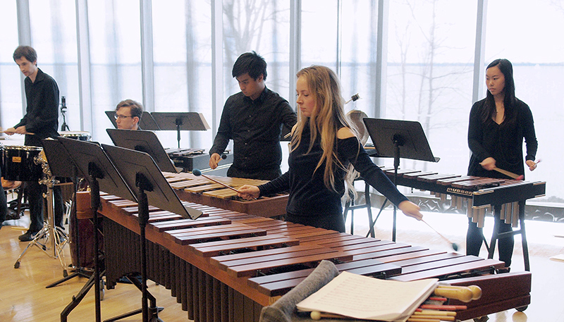 [Students from the Dan School of Drama and Music Percussion Ensemble]
