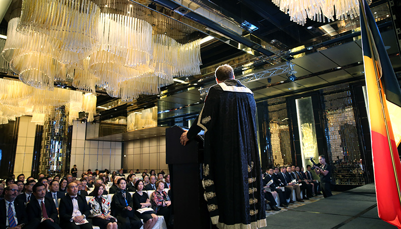 [Daniel Woolf at the re-convocation event in Hong Kong]