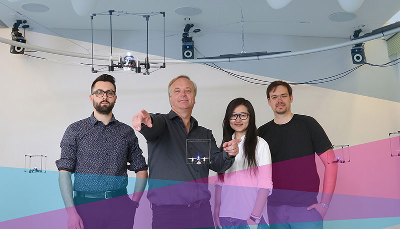 [Human Media Lab team with BitDrone prototypes]