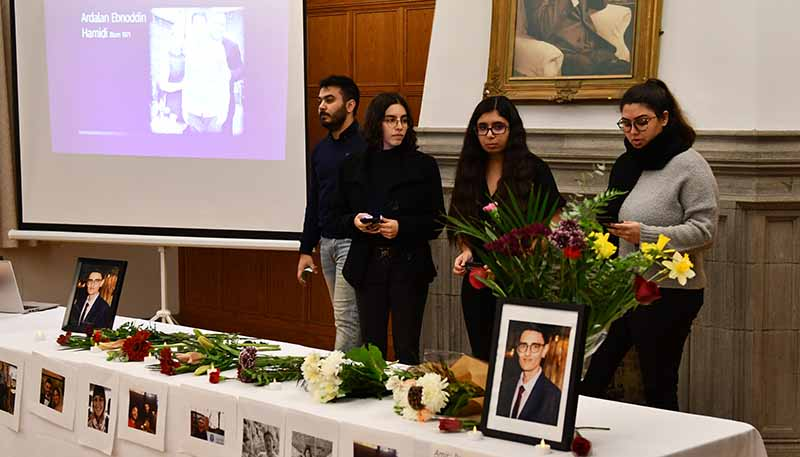 Iranian Student Association members speak at vigil