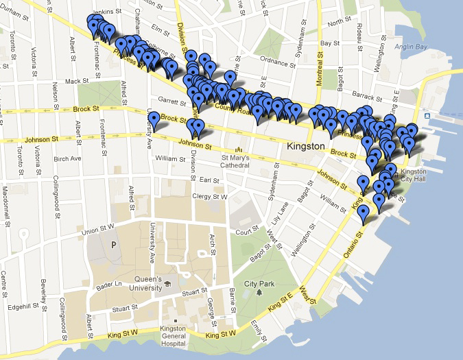 [map showing restaurants in downtown Kingston]