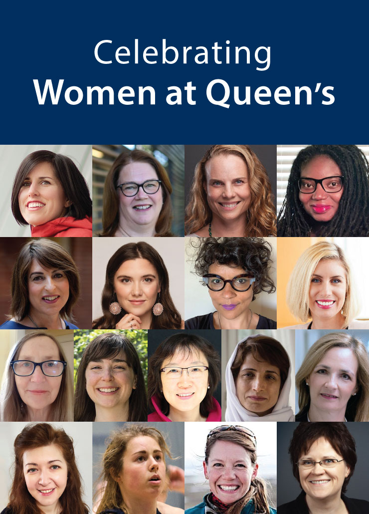 Collage of 16 women. Text reads Celebrating Women at Queen's.