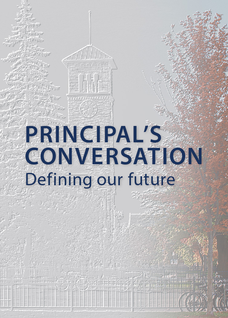 etching of Queen's campus with the words Principal's conversation, defining our future