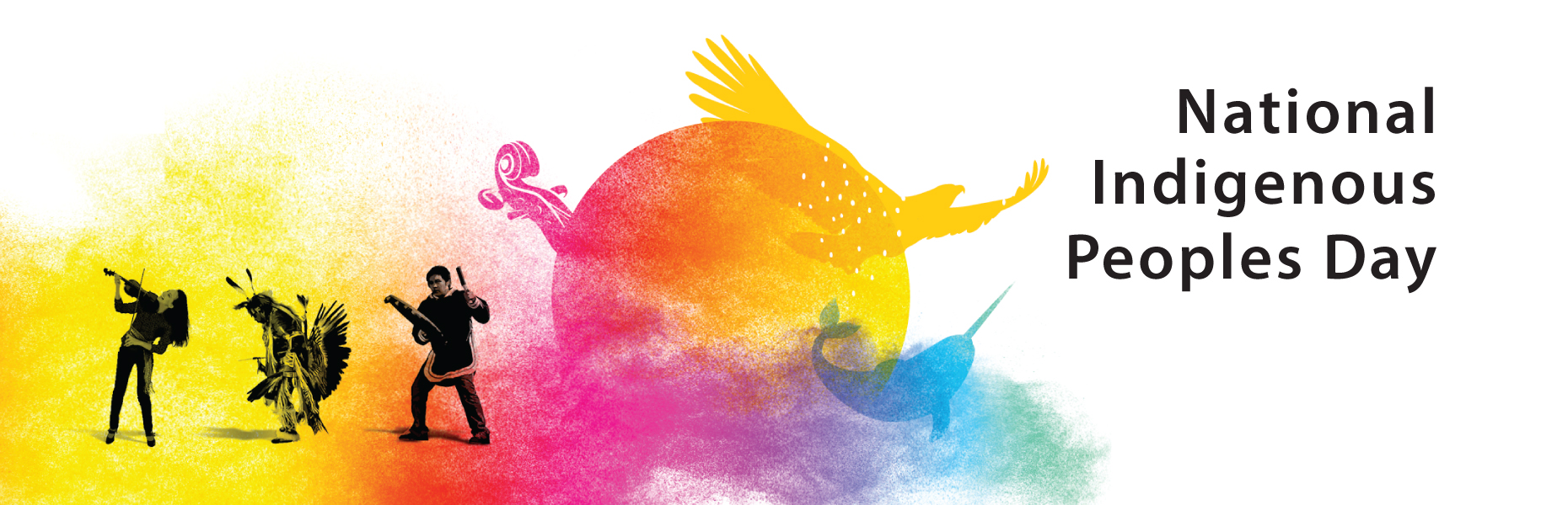 Colourful illustrations of an eagle, violin and narwhal. Text reads National Indigenous Peoples Day.