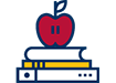 [simple illustration of apple, books]