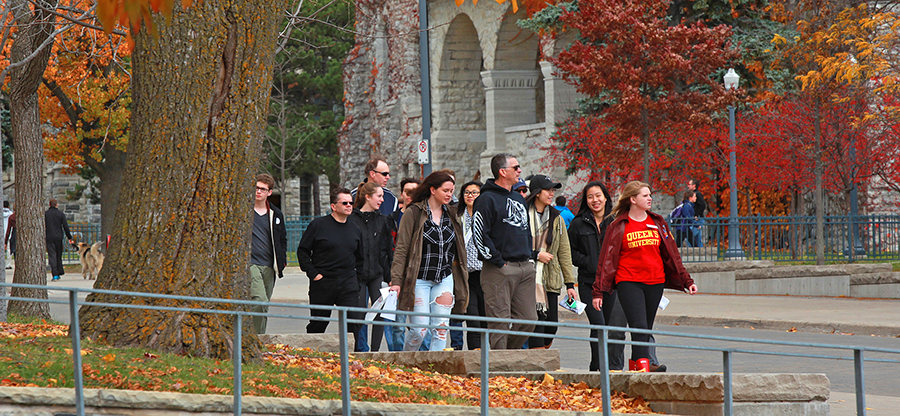 [tour group at Queen's University