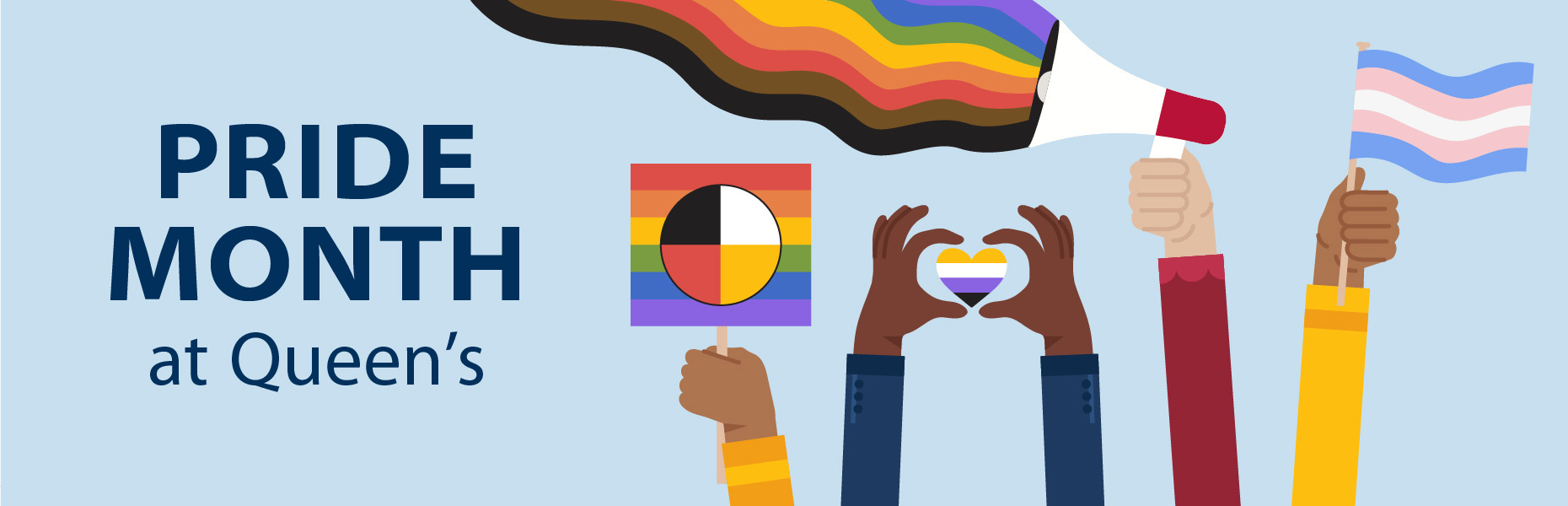 Illustration of four hands holding a transgender pride flag, a rainbow flag with an Indigenous medicine wheel, holding a microphone with a rainbow and BIPOC colours, and holding a heart with the non-binary flag. Text reads Pride Month at Queen's.