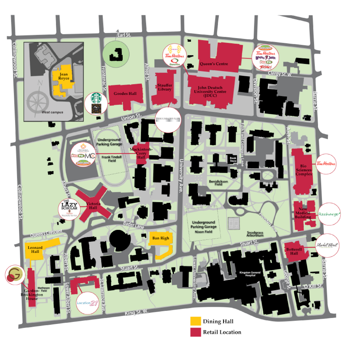 [campus map of dining locations]