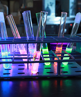 [test tubes with luminescent material]