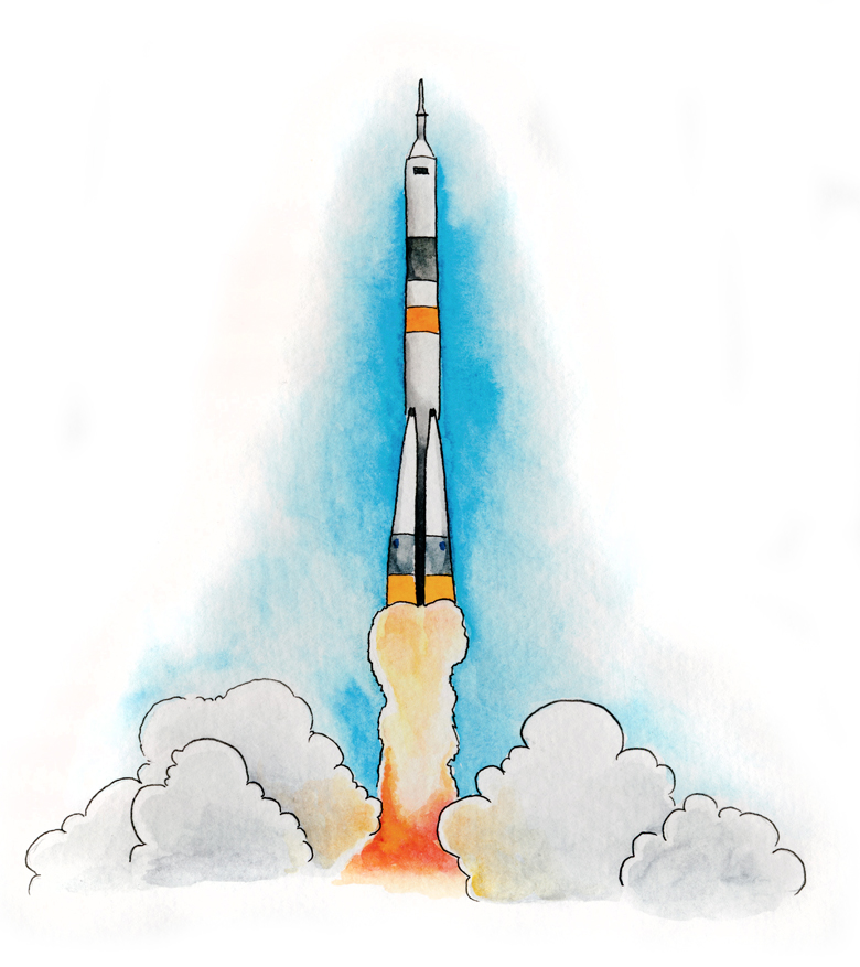 [illustration of Soyuz rocket blasting off]