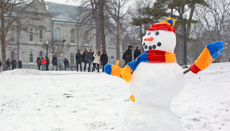 [snowman and students]