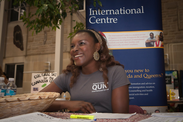 [Floxy Akhuetie representing QUIC at the Graduate Studies orientation event]
