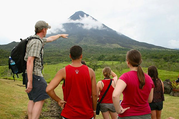 "[Instructor Dan Layton-Matthews and students on location in Costa Rica for GEOL 106, ""Environmental Geology and Natural Hazards""]"