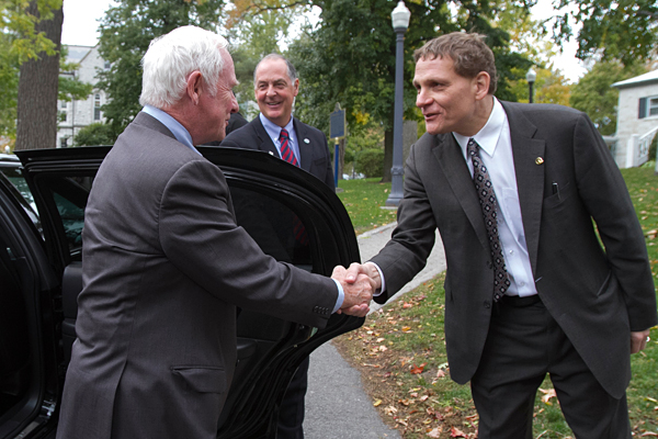 [Principal Woolf welcoming His Excellency the Right Honourable David Johnston, Governor General of Canada, to campus in October.]