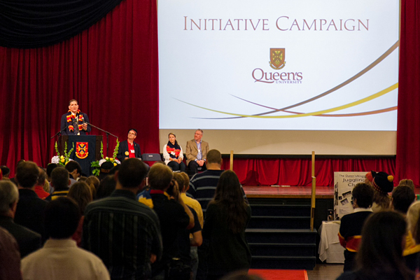 [Principal Woolf addressing faculty, staff and students at the campus community launch of the Initiative Campaign in September.]