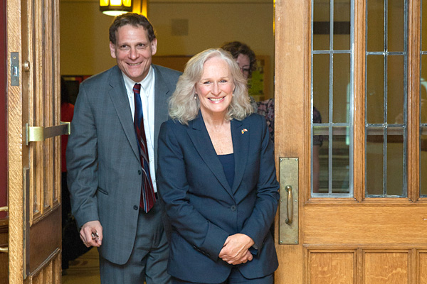[Principal Woolf with actress and humanitarian Glenn Close, honorary Doctorate of Laws degree recipient].