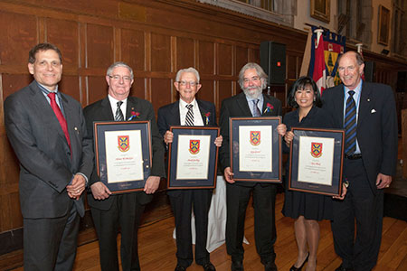 [Principal Daniel Woolf with 2013 recipients of the Distinguished Service Award]