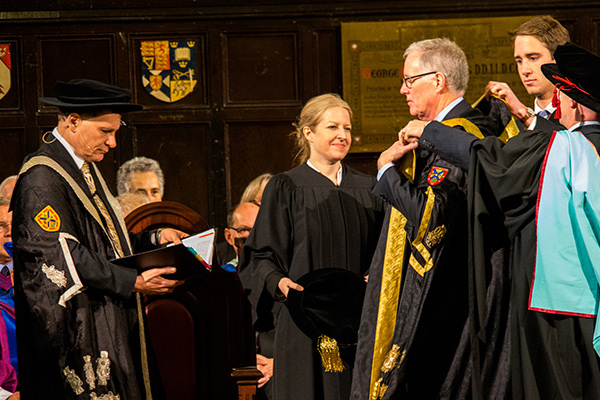 [Daniel Woolf and the installation of Queen's 14th Chancellor, Jim Leech, at fall convocation in Grant Hall]