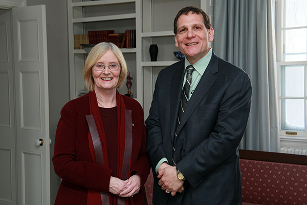 [Daniel Woolf with Distinguished Visitor, Rt. Hon Tricia Marwick MSP, Presiding Officer of the Scottish Parliament]