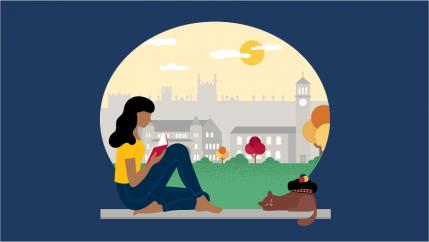 Illustration of a figure looking over Queen's campus while a cat sleeps next to them.