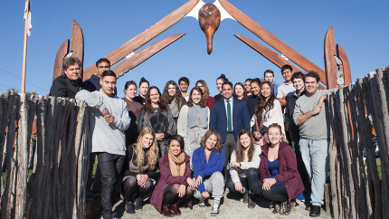[Matariki students at Puketeraki Marae. Photo: Sharron Bennett, University of Otago]