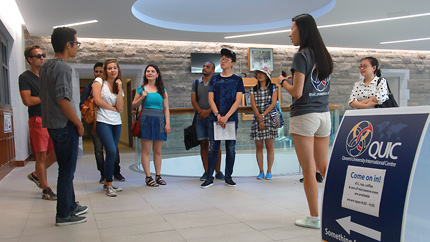 [students touring the JDUC]