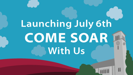 Text on an illustrated background reads Launching july 6th Come soar with us