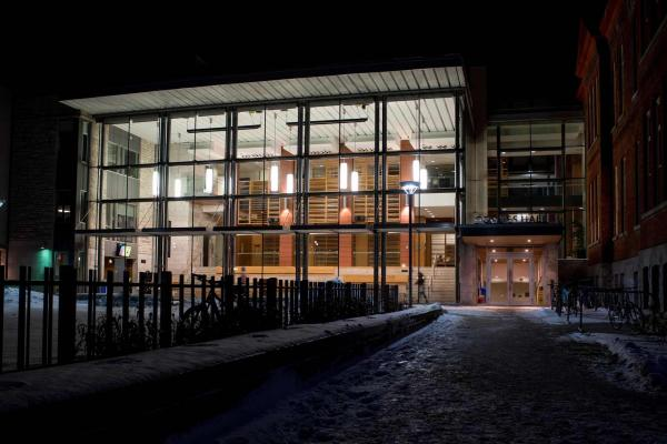[Goodes Hall at night in winter]